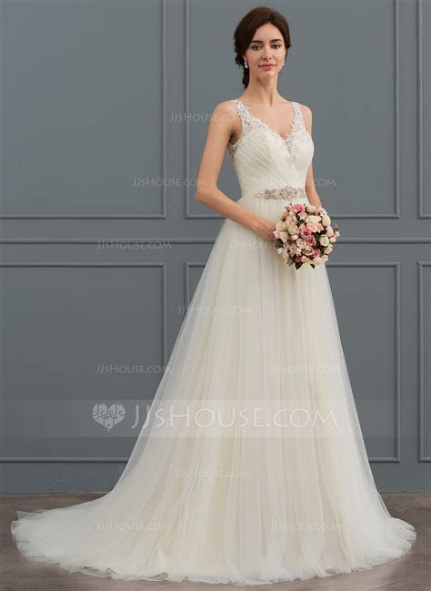 Ball Gown V neck Sweep Train Tulle Wedding Dress With