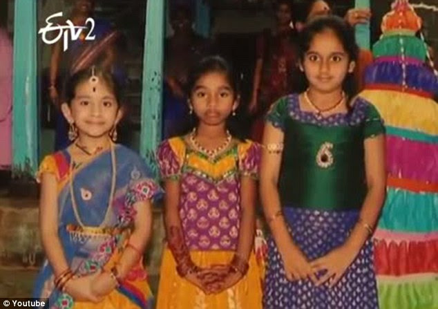 The charred bodies of Akshaya, 9, Suri, 6, and Khushi, 4, were found near an engineering college not far from Nizamabad town