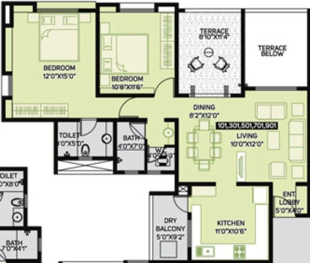 Pate Developers' Kimaya Bibwewadi 2 BHK Flat (A101) - 861 sq.ft. Carpet + 102 sq.ft. Terrace For Rs. 73.85 Lakhs