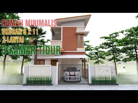 menarik desain rumah minimalis atap miring ukuran 6 x 11 2