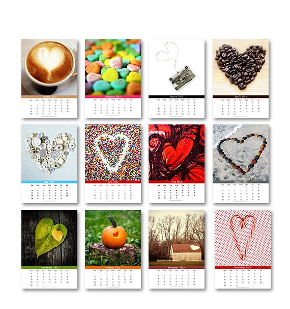 SALE: 2013 Heart Calendar, 5x7 Individual Pages, Fine Art Photography, Gifts Under 30, Gifts for Women, Desk, Fridge, Frame, Valentines Day