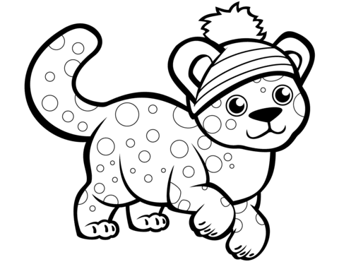 cute cheetah in winter hat coloring page  free printable coloring pages