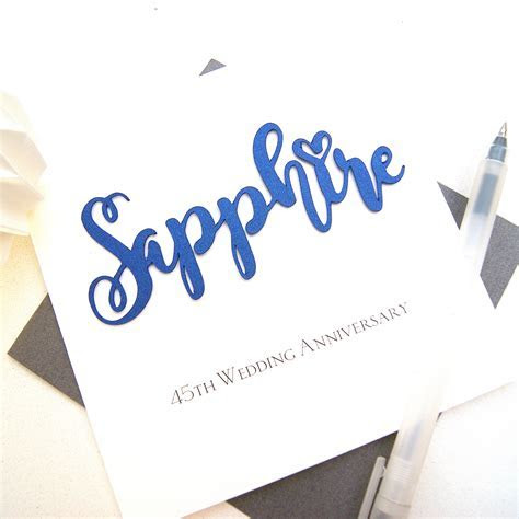 Sapphire 45th Wedding Anniversary Card   Shop Online