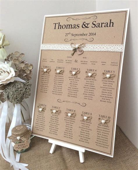 Rustic/Shabby Chic A3 Wedding Table Seating Plan   Wedding
