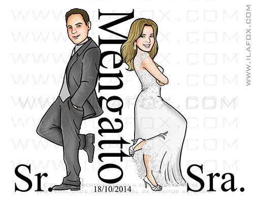 caricatura personalizada, caricatura casal, caricatura sr e sra smith, caricatura para casamento, by ila fox