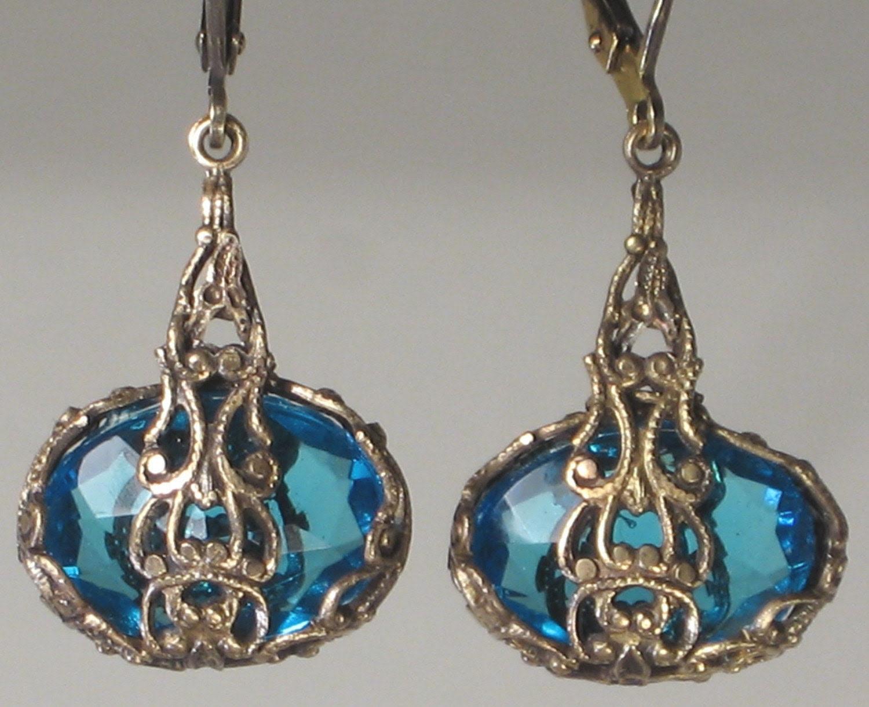 Peacock Blue Capri Earrings