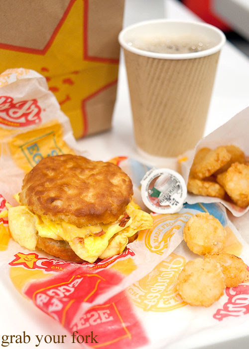 bacon egg and cheese biscuit breakfast at carls jr la lax airport los angeles