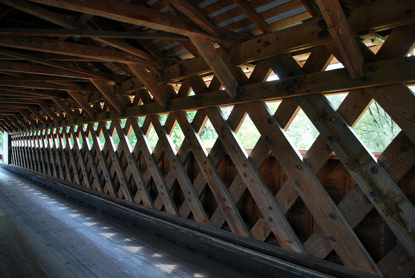 Inside view of the Paper Mill Covered Bridge in Bennington, Vermont.