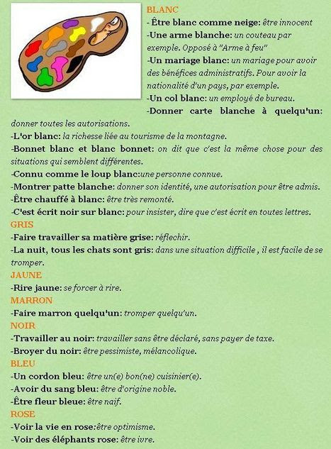Wyrażenia z kolorami - wyrażenia 1 - Francuski przy kawie