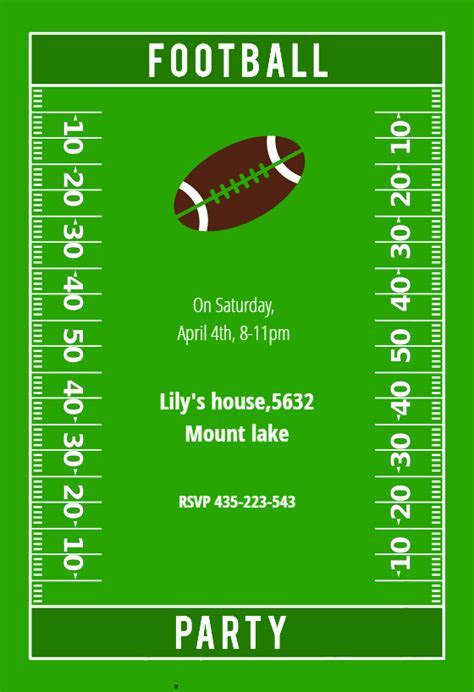 Football Party   sports & games Invitation Template (Free