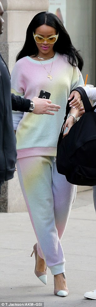 Girlie: The ensemble was rather more feminine than Rihanna's usual tomboy style