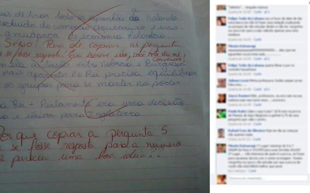 Pai registra BO contra professora que posta prova de aluna no Facebook  (Foto: Reprodução/Facebook)