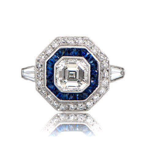 Asscher Cut Diamond Engagement Ring. Sapphire Halo