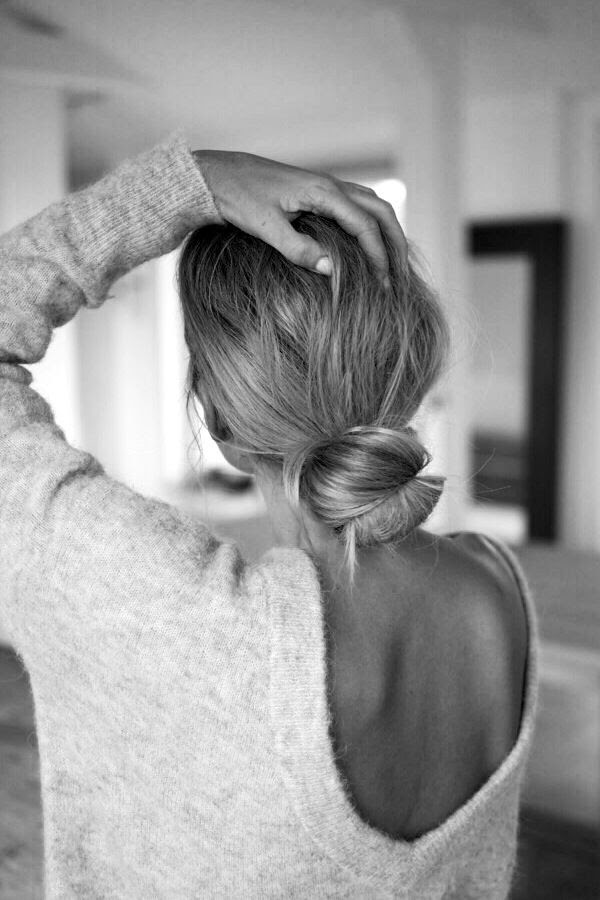 Le Fashion Blog Low Bun Hair Inspiration Open Low Cut V Back Sweater Understated Sexy Fall Style Via Camilla Pihl