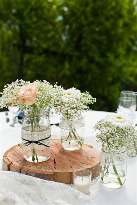 handmade white birch woodmason jar center pieces garden