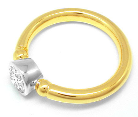 Foto 2, Brillant-Solitär-Ring 18K Bicolor 0,66ct Tw Luxus! Neu!, S8183