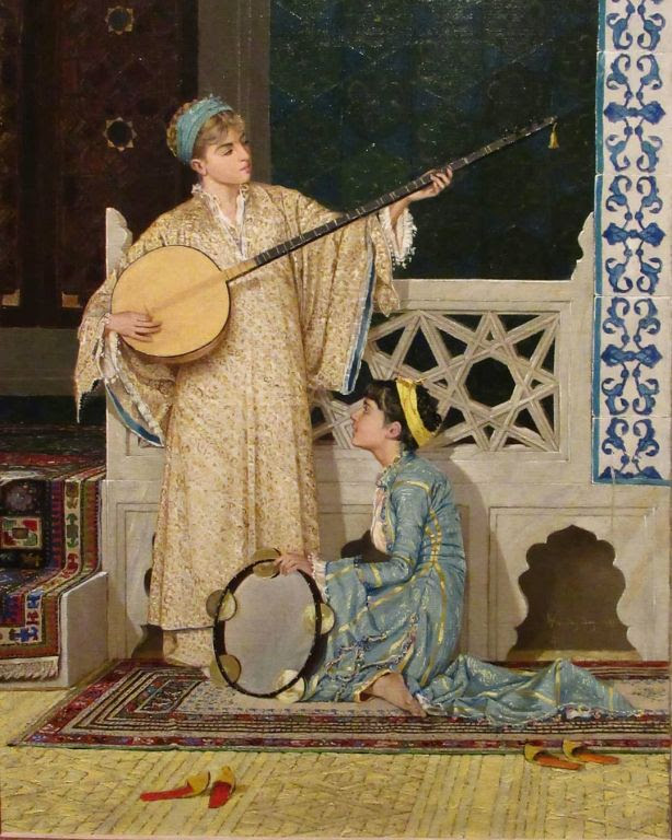 Two Musician Girls By Osman Hamdi Bey, Oil Painting