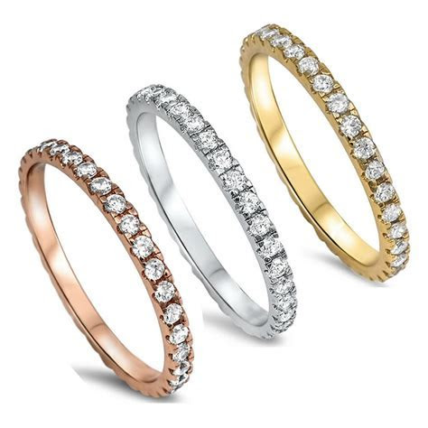 CZ Stackable Wedding Bands Eternity Style .925 Sterling