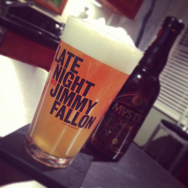 Late Night With Jimmy Fallon pint glass and beer.