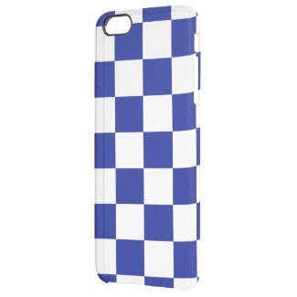Royal Blue and White Checkered Pattern Uncommon Clearly™ Deflector iPhone 6 Plus Case