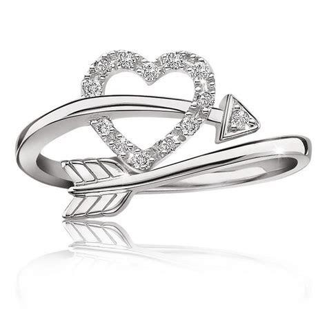 Heart & Arrow Diamond Ring in Sterling Silver   MUST