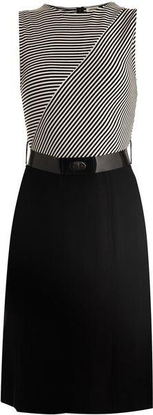 L'Agence Stripe corpete vestido de Jersey - Lyst