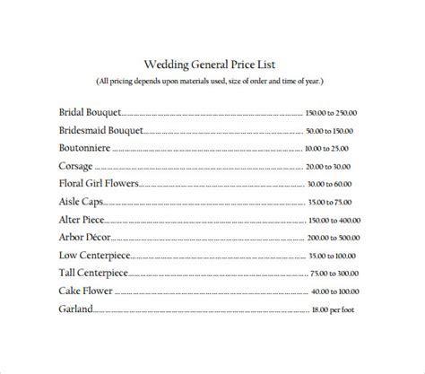 17  Wedding Price List Samples   Sample Templates