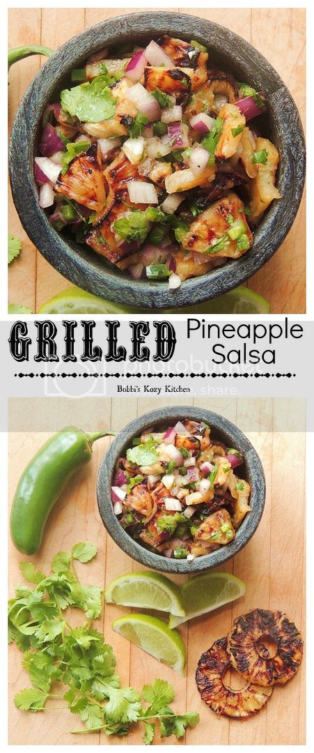 Grilled Pineapple Salsa - Grilled pineapple brings a sweet tangy twist to the salsa party. | From www.bobbiskozykitchen.com