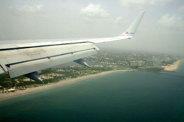 About to land at Fort Lauderdale in Florida...on August 13, 2008.