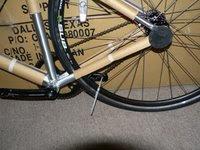 Rear wheel, bottom bracket, and crank