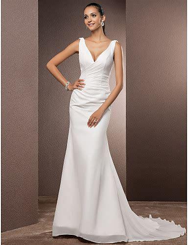 Mermaid / Trumpet V neck Court Train Chiffon Wedding Dress