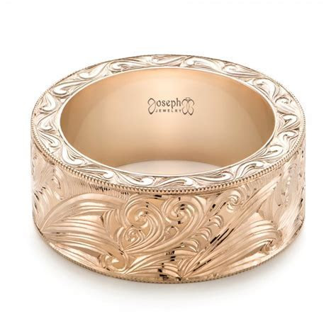Custom Rose Gold Hand Engraved Wedding Band #103286