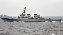 The Arleigh Burke-class guided-missile destroyer USS Fitzgerald conducts tactical maneuvers with a ship from the Republic of Korea navy in March of 2013.