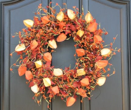 Chinese Lanterns, Gems and Berries Wreath