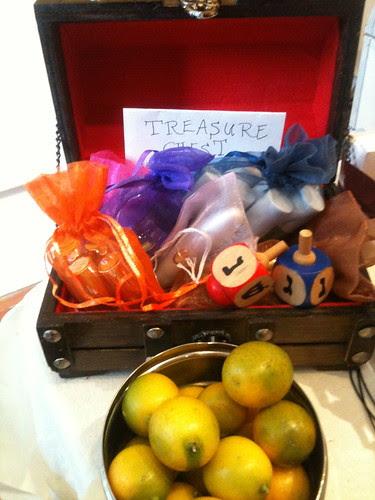 Dreidel draw treasure box + kumquats