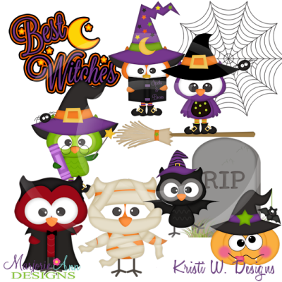 Halloween Hoots SVG Cutting Files Includes Clipart