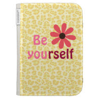 Motivational Be Yourself Quote Leopard Print Kindle 3 Case