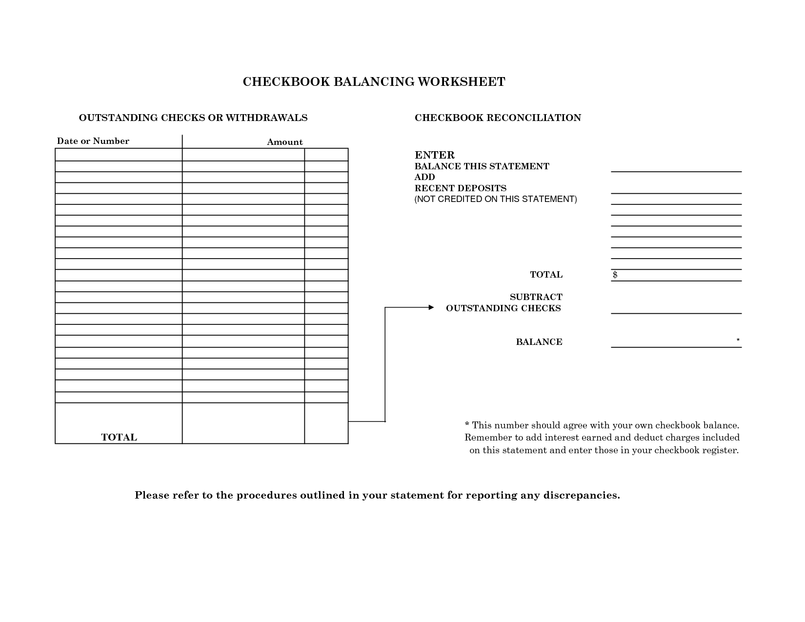 Checkbook Reconciliation Practice Worksheets  best photos of blank personal balance sheet 17