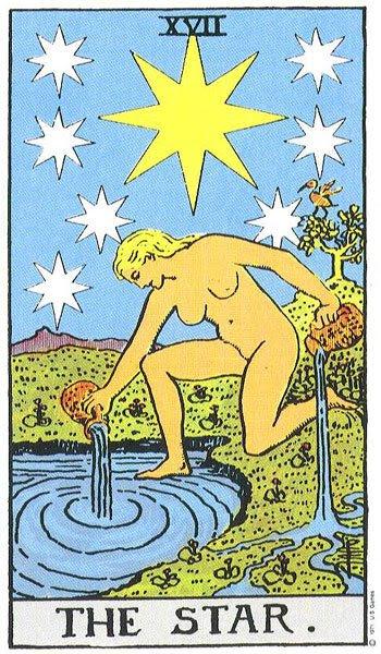 O XVII numeradas grande trunfo é chamado Les Étoiles (francês para a estrela), e retrata uma jovem ajoelhada com um pé na água eo outro no e, com o corpo um pouco sugerindo a suástica.  Ela tem duas urnas, o conteúdo do que ela derrama sobre a terra eo mar.  Acima da cabeça da garota são oito estrelas, uma das quais é excepcionalmente grande e brilhante.  Contagem de Gébelin considera a grande estrela a ser Sothis ou Sirius, os outros sete são os planetas sagrados dos antigos.  Ele acredita que a figura feminina a ser Isis no ato de provocar as inundações do Nilo, que acompanharam a ascensão da estrela Dog.  A figura despida de Ísis pode significar que a natureza não recebe suas vestes de verdura até a subida das águas do Nilo libera a vida germinal de plantas e flores.