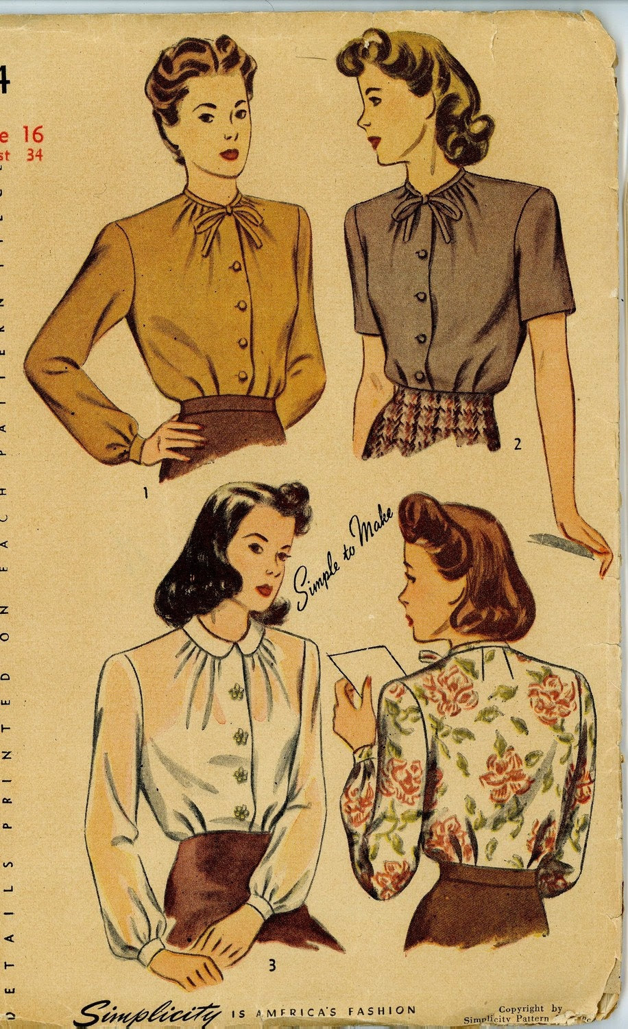 Vintage 1940s Simplicity 4814 Sewing Pattern for Misses Blouse Set, size 32 bust
