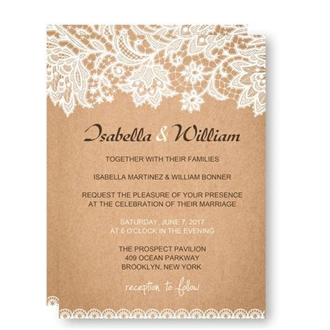 Cheap Rustic Wedding Invitations with White Floral and