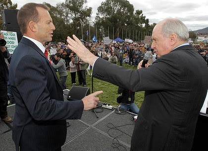 Opposition Leader Tony Abbott with broadcaster Alan Jones.