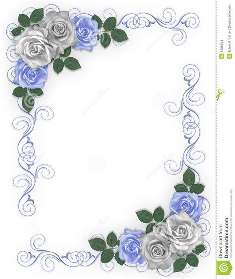 Wedding Border Blue roses stock illustration. Illustration