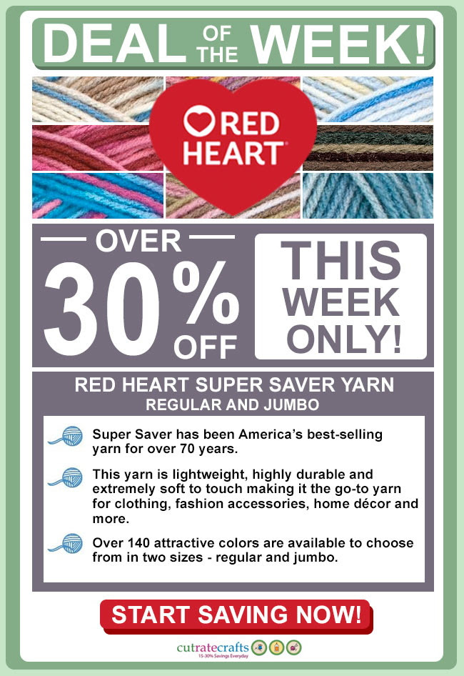 This week's deal is a super saver.... yarn, that is! Save over 30% on regular and jumbo-size yarn!