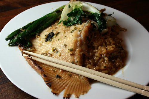 Skate with miso risotto