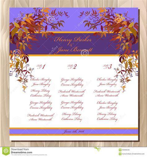 Table Guest List. Autumn Wild Grape Background. Wedding