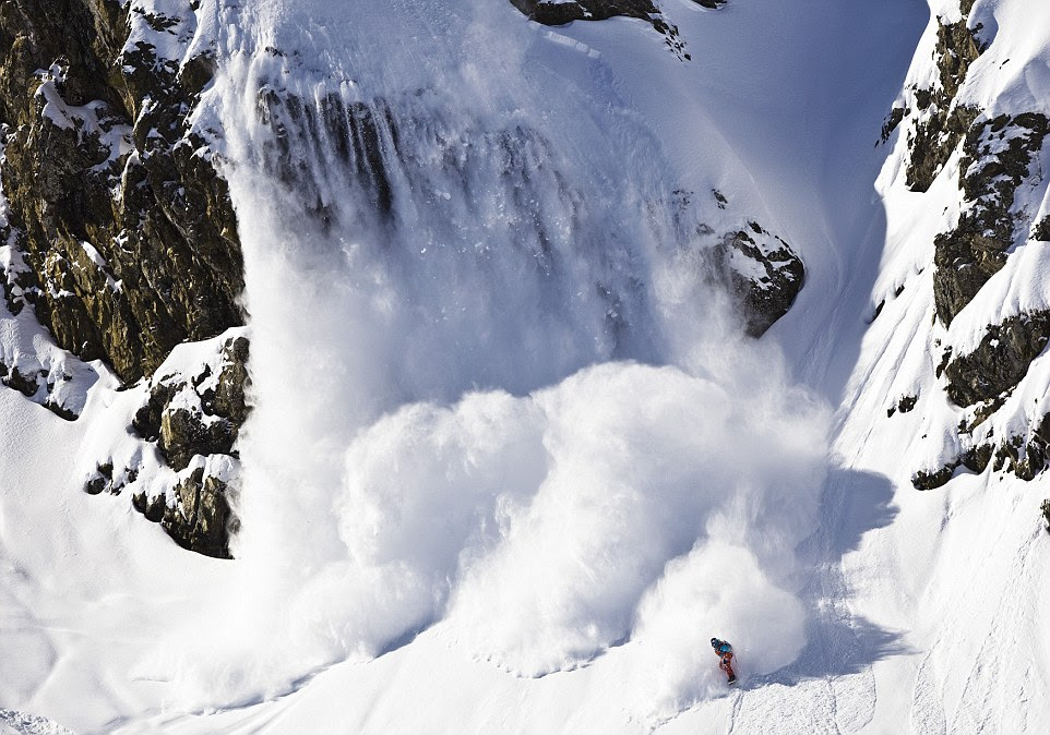 The chances of avalanche are high which means the expert skiers have to be at the top of their game; this scene was photographed at Engelberg, Switzerland