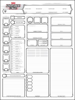 Blank 5e Character Sheet