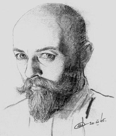 Нил Хасевич. Автопортрет (карандаш). 1945 год.