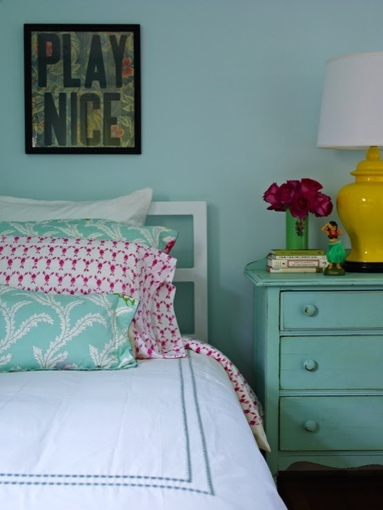 Turquoise Nightstand - Cottage - girl's room - Bella Mancini Design